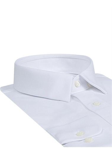 Damat Slim Fit Desenli Gömlek Beyaz